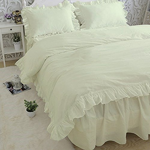 Duvets - Soft Luxurious 1-Piece Frilled Duvet Cover Comes with Beautiful Corner Ruffle Edges 100% Egyptian Cotton 600 TC Comforter Cover Solid (Full/Queen, Ivory) by American Club (Image #1)