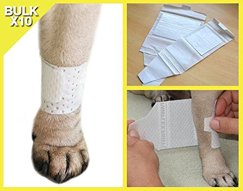 PawFlex Basic leg Bandages for dogs, cats and other pets First Aid Non-Adhesive Fur Friendly - Value 10 Pack (5 Standard, 5 Wide) By (Small)