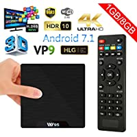 ESHOWEE W95 Android 7.1 TV Box amlogic Quad Core 64 Bit 1 GB Ram 8 GB ROM 4K UHD WiFi & LAN VP9 DLNA H.265