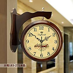Imoerjia Solid Wood European Double-Sided Wall Clock Living Room Large Two-Sided Clocks Creative Clock Retro Mute Quartz Clock, 20 Inch, Double Sided Clock 183-271 Large Wood