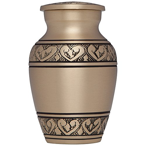 Mini Keepsake Urn • Miniature Funeral Cremation Urn fits Small Amount of Ashes • Corinthian in Bronze Model • 3 inches Tall