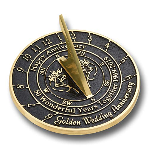 The Metal Foundry 50th Golden Wedding Anniversary 2019 Sundial Gift Idea is A Great Present for Him, for Her Or for A Couple to Celebrate 50 Years of Marriage ()