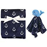 Hudson Baby Plush Blanket & Security Blanket, Nautical Whale