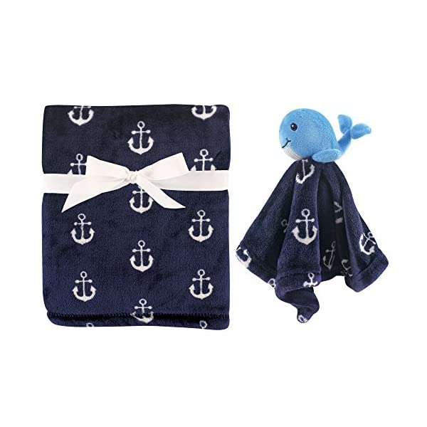 Hudson Baby Unisex Baby Plush Blanket with Security Blanket, Nautical Whale 2 Piece, One Size