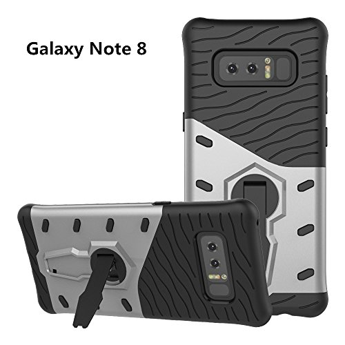 Galaxy Note 8 Case, VPR Premium Dual Layer Durable Armor with Full Body Protective and Heavy Duty Protection and 360 Degree Rotating Kickstand Cover for Samsung Galaxy Note 8 (2017) (Silver) (Pokemon Gold And Silver 2 In 1)