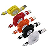 usb cable micro flat - Sudroid Pack of 5 Multicolor Retractable Micro USB Flat Charger Sync Data Cable Cord for Android Phones