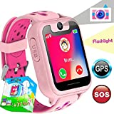 TURNMEON Smart Watch Phone GPS Tracker for Kids Girls Boys Smartwatch with Camera SOS Alarm Wrist Anti-Lost Bracelet Children Holiday Birthday Gifts Travel Camping (S6-Pink)