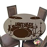 Bass Drum Coffee Table Cheery-Home Durable Polyeste Tablecloth(Elastic Edge) Suitable for All Occasions, (50