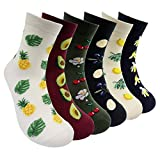 Fun Fruits Womens Casual Socks - 6 Packs Novelty Patterned Cotton Crew Socks