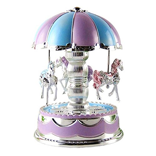 Aurorao Horse Music Boxes for girls, LED Light Carousel Horse Merry-Go-Round Music Box Dancing Birthday/Christmas/Wedding Gift Toy - 15 Christmas Music Box