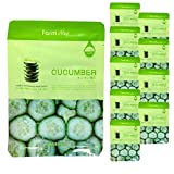 Korean Deep Moisturizing Rich Cucumber Visible Face Facial Mask Sheet Farm Stay [ 10 Packs ] 23ml/0.78 fl.oz