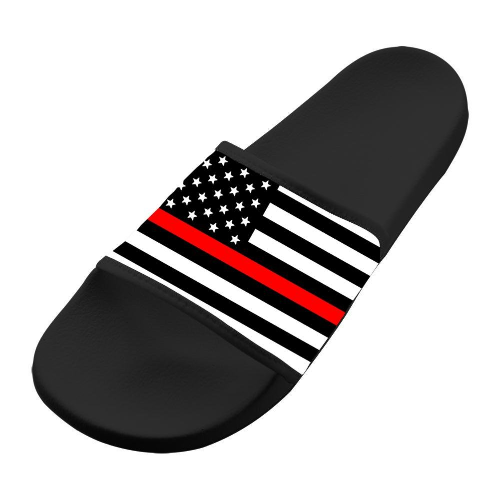 Jane-LEE Shoe Comfortable Slipper Thin Red Line Flag decorations Designs For Men & Women 12 B(M) US