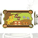 Twins Funfari - Fun Safari Jungle - Party Table Decorations - Baby Shower or Birthday Party Placemats - Set of 12