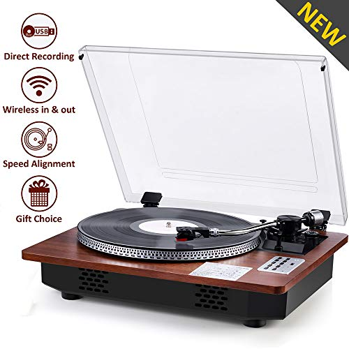 Record Player with Speakers Turntable for Vinyl Records Wireless in & Out USB Direct Vinyl to MP3 Recording Professional LP Phonograph Automatic Vintage Solid Record Player with Retro Wood Design