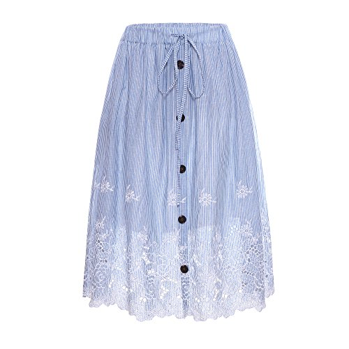 (Welove fashion Women's A-line Stripe Embroidered Below Knee Length with Lining midi Skirt (S/M, White-Blue))