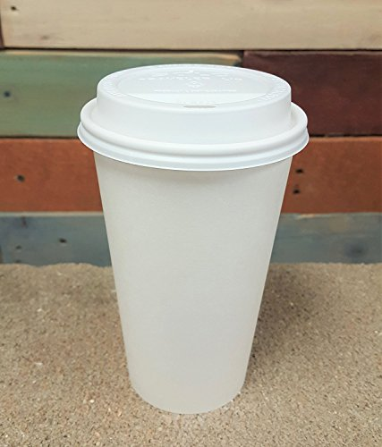 Price comparison product image 100 Sets 20 oz Paper Coffee Cup Solo Disposable White Hot Cup with Cappuccino LIDS