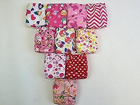 Pack de 10 Pañales de tela con insertos de 20 de bolsillo (2 insertos por pañal) -Girl Pack: Amazon.es: Bebé
