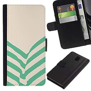 WINCASE Cuadro Funda Voltear Cuero Ranura Tarjetas TPU Carcasas Protectora Cover Case Para Samsung Galaxy Note 3 III - verdes rayas de color beige líneas