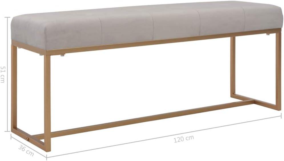 mewmewcat Panca 120 cm in Velluto Grigio,Panca da Interno,Panchina da Interno,Panca Ingresso,Panchina Ingresso