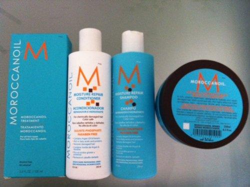 Moroccanoil Oil Treatment (3.4 oz), Moisture Repair Shampoo (8.5 oz), Moisture Repair Conditioner (8.5oz) and Intense Hydrating Mask (8.5 oz) Combo Set (Moroccanoil Hydrating Mask)