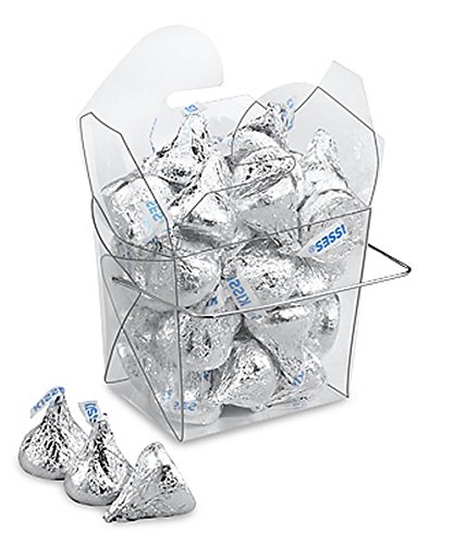 Oasis Supply Chinese Take-out Boxes Containers for Party Favor Boxes, 1/2 Pint, Clear, 12-Pack