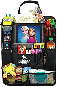 """DMoose Car Backseat Organizer with Tablet Holder for Kids and Toddlers (24"""" x 19"""") Large – Insulated Thermal Pockets, Strong Buckles - Use as Seat Back Protector, Kick Mat, Car Organizer"""
