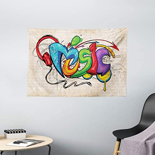 Ambesonne Music Tapestry, Illustration of Graffiti Style Lettering Headphones Hip Hop Theme on Beige Bricks, Wide Wall Hanging for Bedroom Living Room Dorm, 60 X 40 , Tan Green