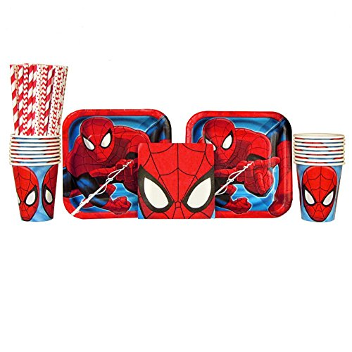 Spiderman Party Pack for 16 Guests: Straws, Plates, Napkins, and Cups (Bundle for 16)