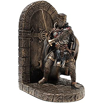 Armored Maltese Crusader With Sword Guarding Door Single Bookend Cold Cast Bronze