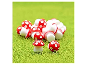 Flowerrs Jardín de Hadas Mini Setas de PVC Casa Miniatura Jardín de Hadas Micro Paisaje Jardín Decoración Macetas Bonsai Craft Decor (Rojo) Decorativo: ...