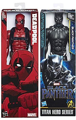 Red VS Black Heroes War Big Figure Pack 2-Pack Black Panther & Deadpool Movie Titan Hero Series Marvel 12