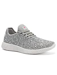 Comfy Moda Pretty MetallicSequins Glitter SparklyFashion Sneakers Women Breathable Comfortable Athletic SportsLace-Up Mesh Tongue Running Shoes