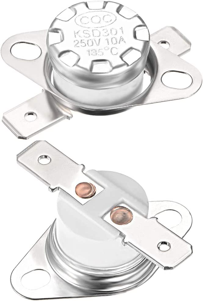 Fielect KSD301 Thermostat Temperature Control Switch,Adjust Snap Disc Temperature Switch 100/°C Normally Closed 2 Pcs