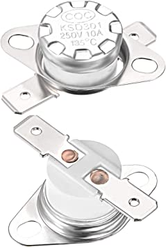 uxcell KSD301 Thermostat 250/°C 10A Normally Closed N.C Adjust Snap Disc Limit Control Switch Microwave Thermostat Thermal Switch 2pcs