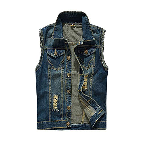 iYYVV Mens Denim Vest Casual Cowboy Jacket Ripped Holes Sleeveless Tops Blue ()