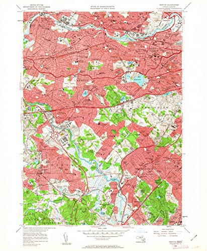 YellowMaps Newton MA topo map, 1:24000 Scale, 7.5 X 7.5 Minute, Historical, 1956, Updated 1963, 26.8 x 22.1 in - Tyvek