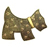 Acosta Brooches - Antique Gold with Topaz Crystal - Scottish Terrier Scottie Dog Brooch