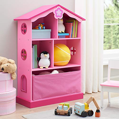 Super Cute Childrens Pink Dollhouse Cottage Bookcase with Storage,Ample Space for Dolls,Accessories,Dresses,Toys and Books,Perfect for Classrooms,Art Rooms,Childrens Bedrooms and Playrooms
