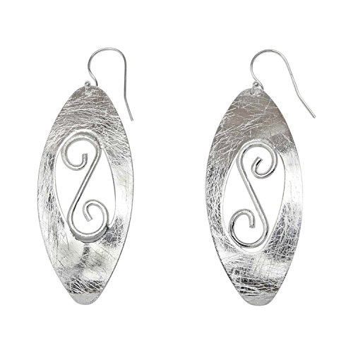 Takobia Women's Scratched Silver Plated Drop Oval S