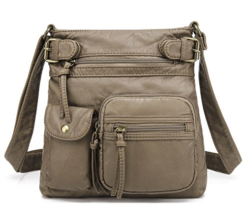 Scarleton Small Multi Pocket Crossbody Bag for Women, Ultra Soft Washed Vegan Leather Shoulder Purse, Khaki, H183314