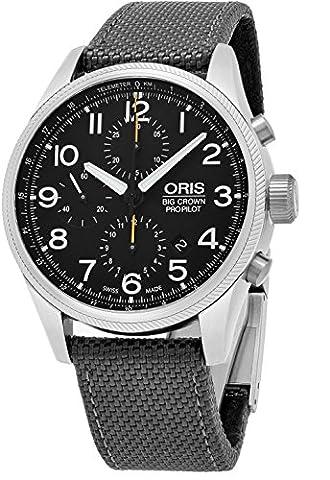 Oris Big Crown ProPilot Chronograph Mens Stainless Steel 44mm Black Face Oris Watch - Grey Fabric Strap Swiss Automatic Watch 01 774 7699 4134-07 5 22 (Watch Automatic Oris)