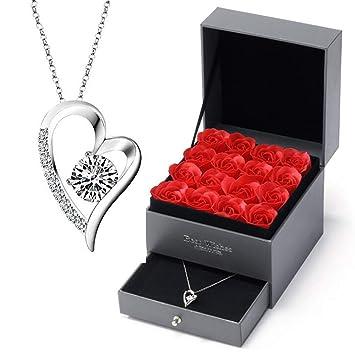 liquidation à chaud beaucoup de styles grande vente de liquidation ANLW Rose éternelle Fleur Collier en Argent Sterling boîte ...