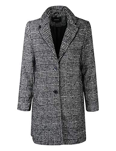 (makeitmint Women's Checkered Glen Plaid Wool Blend Jacket Blazer Overcoat YJCT0002-BLACK-LRG)