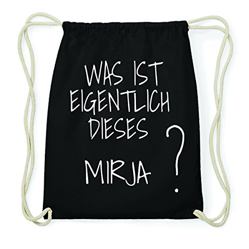 JOllify MIRJA Hipster Turnbeutel Tasche Rucksack aus Baumwolle - Farbe: schwarz Design: Was ist eigentlich