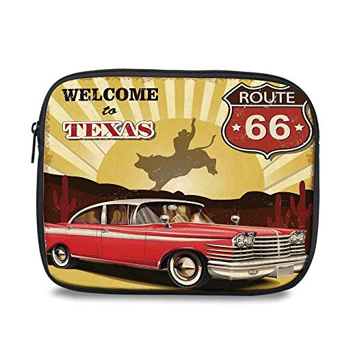 - Vintage Decor Durable iPad Bag,Welcome to Texas Signboard Poster with Cadillac Art Car Cowboys Town Rodeo Decor for iPad,10.6