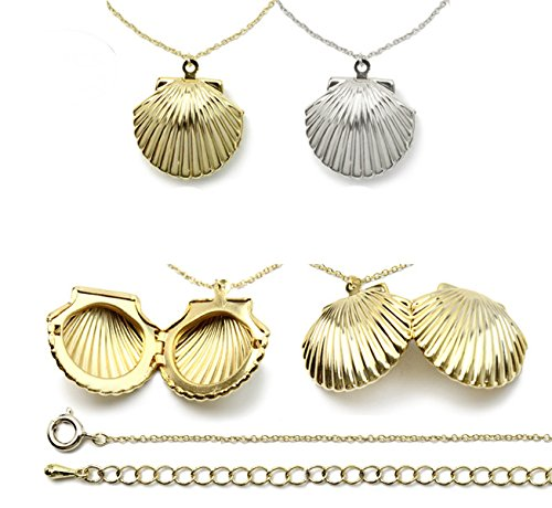 Amersumer 2PCS Gold Silver Seashell Locket For Mermaid Valentine Necklace, Beach Locket,Can Open