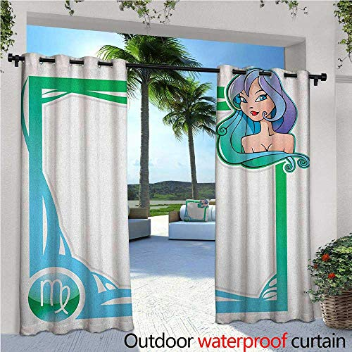 Series Ashton Style Single - familytaste Zodiac Virgo Indoor/Outdoor Single Panel Print Window Curtain The Sixth Sign from The Series of Zodiac Frames in Cartoon Style with a Girl Silver Grommet Top Drape W96 x L96 Multicolor