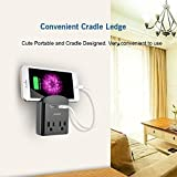 XPLUS Wall Outlet Surge Protector with Two 2.4A USB Charging Ports, 2 AC Outlet Plugs and Topside Phone Holders for iPhone, iPad and Others, ETL Certified