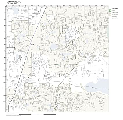 Lake Mary Florida Map.Amazon Com Zip Code Wall Map Of Lake Mary Fl Zip Code Map