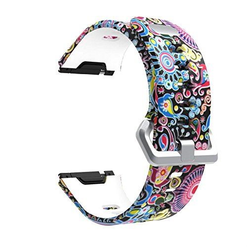 Price comparison product image Owill Sports Fashion Printing Pattern Silicone Strap Wrist Band Replacement For Fitbit Ionic (Multicolour B)
